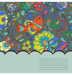 Background with bird plant and flower vector