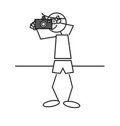 Stick figure photographer vector