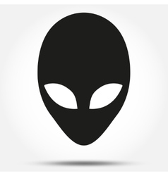 Silhouette symbol of alien head creature from vector