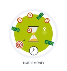 Time is money business concept in modern flat vector