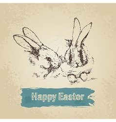 Vintage background with easter rabbits vector