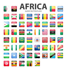 Glossy button flags - africa original colors vector