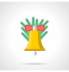 Yellow Xmas handbell flat color icon vector image