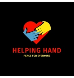 Helping hand adult and children logo icon charity vector