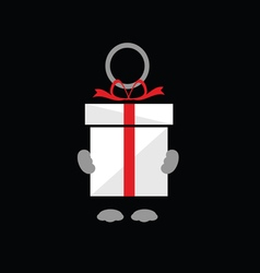Holding gift box on black vector