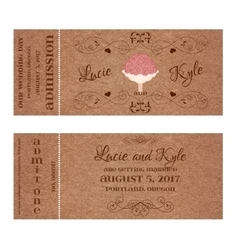 Ticket for wedding invitation with bouquet vector