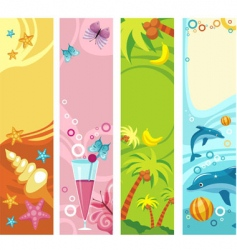 Tropical beach banners vector