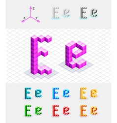 Isometric font from the cubes Letter E vector image
