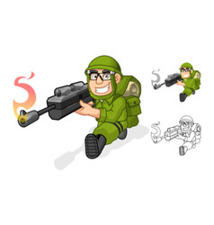 Army aiming a rifle with shoot pose vector