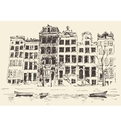 Amsterdam vintage engraved hand drawn vector