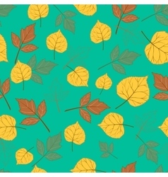 Autumn leaves on emerald green vector image vector image