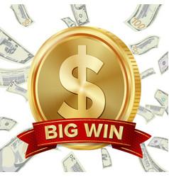 Big win sign background design for online vector