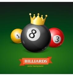 Billiard balls with golden crown vector