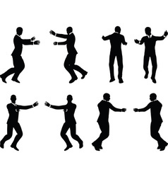 Business man silhouette in push pose vector