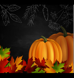 Chalkboard with autumn leaves and two pumpkins vector