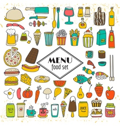 Collection of hand drawn food menu simple sketches vector