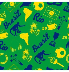 color brazil icons and symbols seamless pattern vector image