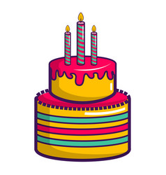 Colorful birthday cake icon cartoon style vector
