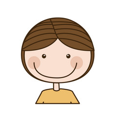 Colorful caricature half body guy with brown hair vector