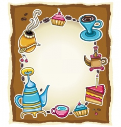 cute coffee frame vector image vector image