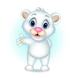 Cute polar bear presenting vector