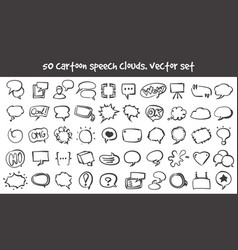 doodle speech clouds icons set vector image