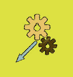 Flat icon design collection two gears in hatching vector