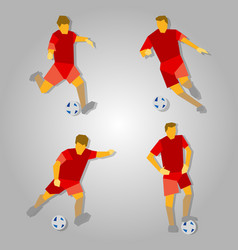 Four poses of soccer player in red vector