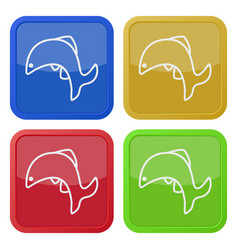Four square color icons jumping fish dolphin vector