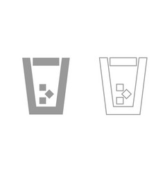 glass with ice grey set icon vector image