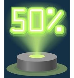 Green neon light discount sale 50 percent vector