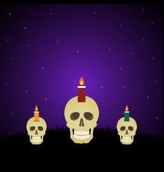 Halloween evil face light candle skull graveyard vector