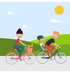 Happy family riding bikes woman on bicycle vector