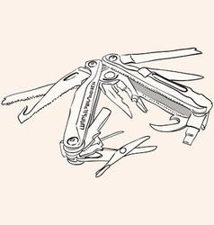 Knife multi tool vector