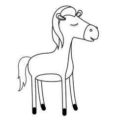 Mare cartoon with closed eyes expression in vector