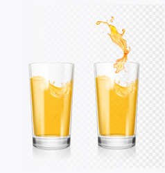 orange juice splash in glass realistic vector image