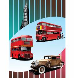 Retro car and buses vector
