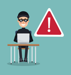 Scene color thief man hacker in desk with laptop vector