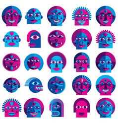 Set of bizarre creatures modern art colorful vector