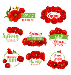 spring flower wreath icon for springtime design vector image