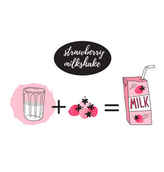 strawberry milk graphic banner design with vector image vector image