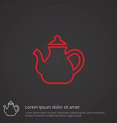 Teapot outline symbol red on dark background logo vector