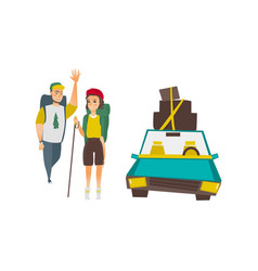 Tourists with backpacks car with luggage on top vector