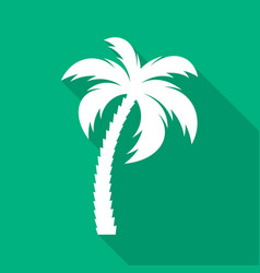 white palm tree flat icon vector image vector image