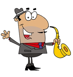 Hispanic cartoon saxophone player man vector