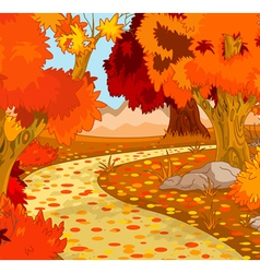 Autumn forest landscape vector