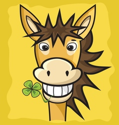 Donkey with clover vector image