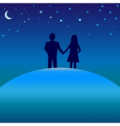 Happiness concept - boy and girl under night skies vector