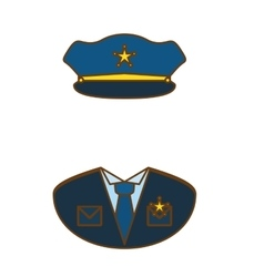 blue police uniform icon image vector image