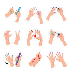 manicured women nails isolated set vector image